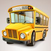 stock photo of motor-bus  - Funny school bus - JPG