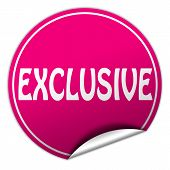 Exclusive Round Pink Sticker On White Background