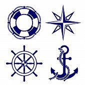 picture of nautical equipment  - Set of marine symbols  Vector Illustration - JPG