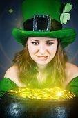 image of greedy  - a woman dressed as a leprechaun with greedy eyes - JPG