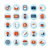 Flat design modern vector illustration icons set on web design theme