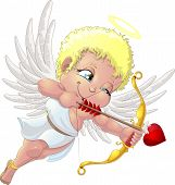 foto of cupid  - the beautiful cupid who aims from onions a love arrow - JPG