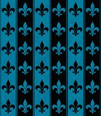 Black And Blue Fleur De Lis Textured Fabric Background