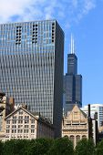 stock photo of willy  - Sunny Chicago skyline with famous Willis Tower - JPG