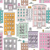 stock photo of brownstone  - Seamless quirky brownstone homes new york city theme vintage style illustration background pattern in vector - JPG