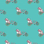 image of rickshaw  - Seamless whimsical bike rickshaw illustration india theme background pattern in vector - JPG