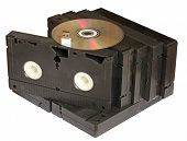 foto of memory stick  - videotape with dvd and flash memory  - JPG