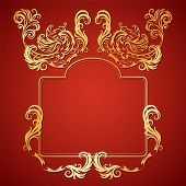 stock photo of gargoyles  - Vector illustration frame with floral ornament and gargoyles gold on a red background - JPG