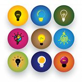 foto of clever  - idea light bulb brilliance genius smart clever vector icons - JPG