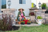 pic of grandma  - Happy stylish elderly Grandma planting in her garden sitting contentedly on the steps of her porch surrounded by plant seedlings   - JPG