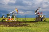 image of nonrenewable  - Oil Pump on a background of forest in Russia