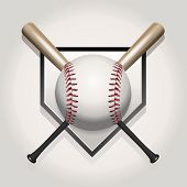 stock photo of baseball bat  - A baseball illustration made for a ball and two crossed bats over home plate - JPG