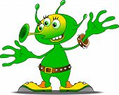 picture of outerspace  - Jolly Green alien in funny shoes vector and illustration - JPG