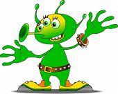 foto of alien  - Jolly Green alien in funny shoes vector and illustration - JPG