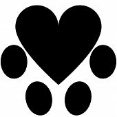 picture of animal footprint  - Simbol of animal footprint with heart in middle - JPG