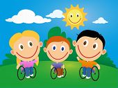 foto of handicapped  - Handicapped happy children in wheelchair in a sunny day - JPG