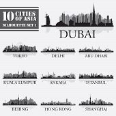 picture of city silhouette  - Set of skyline cities silhouettes - JPG