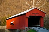 stock photo of covered bridge  - This covered bridge is named for the family that donated the land and is located on the edge of Versailles State Park in southeast Indiana - JPG