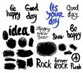 stock photo of freehand drawing  - set of words and labels freehand drawing - JPG