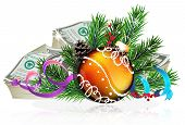 stock photo of winterberry  - Christmas bauble with money and fir tree branches on white background - JPG