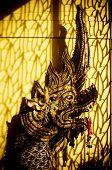 stock photo of serpent  - Close up of head naga statue at Wat Saen van, Chiang Mai, Thailand. (Thai  serpent) ** Note: Visible grain at 100%, best at smaller sizes - JPG