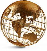 stock photo of eastern hemisphere  - Metal globe showing the Eastern Hemisphere on a white background - JPG