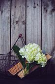 pic of hydrangea  - White hydrangea flowers and vintage books in a metal basket on a wooden background - JPG