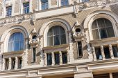 picture of neoclassical  - Beautiful neoclassic facade of the house on Iliynka street in Moscow old town Russia - JPG
