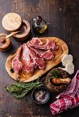 picture of lamb  - Raw fresh Lamb Meat ribs and seasonings on dark wooden background - JPG