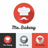 image of flat-bread  - Vector flat bakery or restaurant minimalistic logo set - JPG