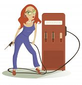 picture of petrol  - Cartoon sexy girl at the petrol station - JPG