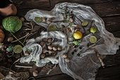 stock photo of rune  - Still life of ingredients for making potions witch - JPG