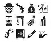foto of gallows  - Retro Bad boys icons set   - JPG