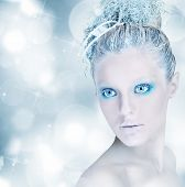 image of silver-hair  - Make up sparkling silver and light blue - JPG