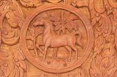 picture of chinese zodiac animals  - Wood carving of horse Chinese zodiac animal sign - JPG