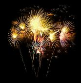 picture of firework display  - Colourful Fireworks display for New Year Celebration - JPG