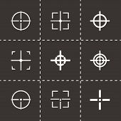 picture of crosshair  - Vector black crosshair icon set on black background - JPG