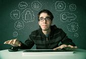 image of virus scan  - Young nerd hacker with virus and hacking thoughts on green background - JPG