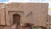 image of megaliths  - One of the megalithic stones with intricate carving in the complex Puma Punku - JPG