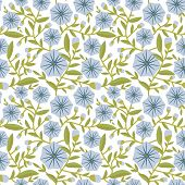 stock photo of glory  - Seamless pattern with decorative blue flowers morning - JPG