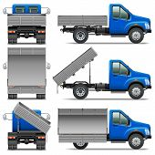 stock photo of dump_truck  - Lorry Icons Set 4 including different view of truck isolated on white background - JPG