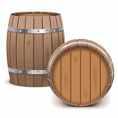 picture of cade  - Two wooden barrels isolated on white background - JPG