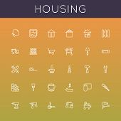 stock photo of cart  - Thirty housing line icons - JPG