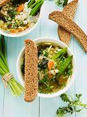 foto of nettle  - Soup with pearl barley nettle carrot and leek - JPG