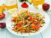 foto of vinegar  - Spring salad with bell pepper spanish onion leek and blackberry vinegar - JPG