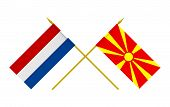 picture of macedonia  - Flags of Macedonia and Netherlands 3d render isolated - JPG
