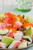 pic of masago  - Deconstructed California roll poke made with imitation crab cucumber avocado and capelin roe - JPG