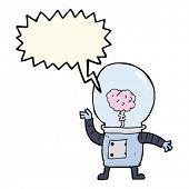 image of cyborg  - cartoon robot cyborg with speech bubble - JPG