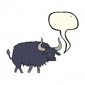 pic of hairy  - cartoon annoyed hairy ox with speech bubble - JPG