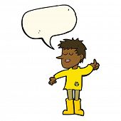 picture of attitude boy  - cartoon poor boy with positive attitude with speech bubble - JPG